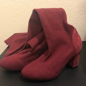 Maroon thigh high boots